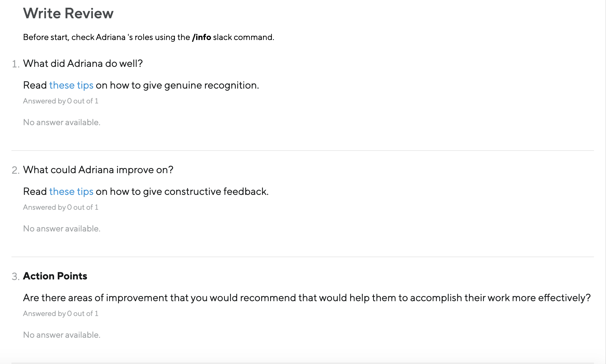 An example of a manager's review form on Small Improvements.