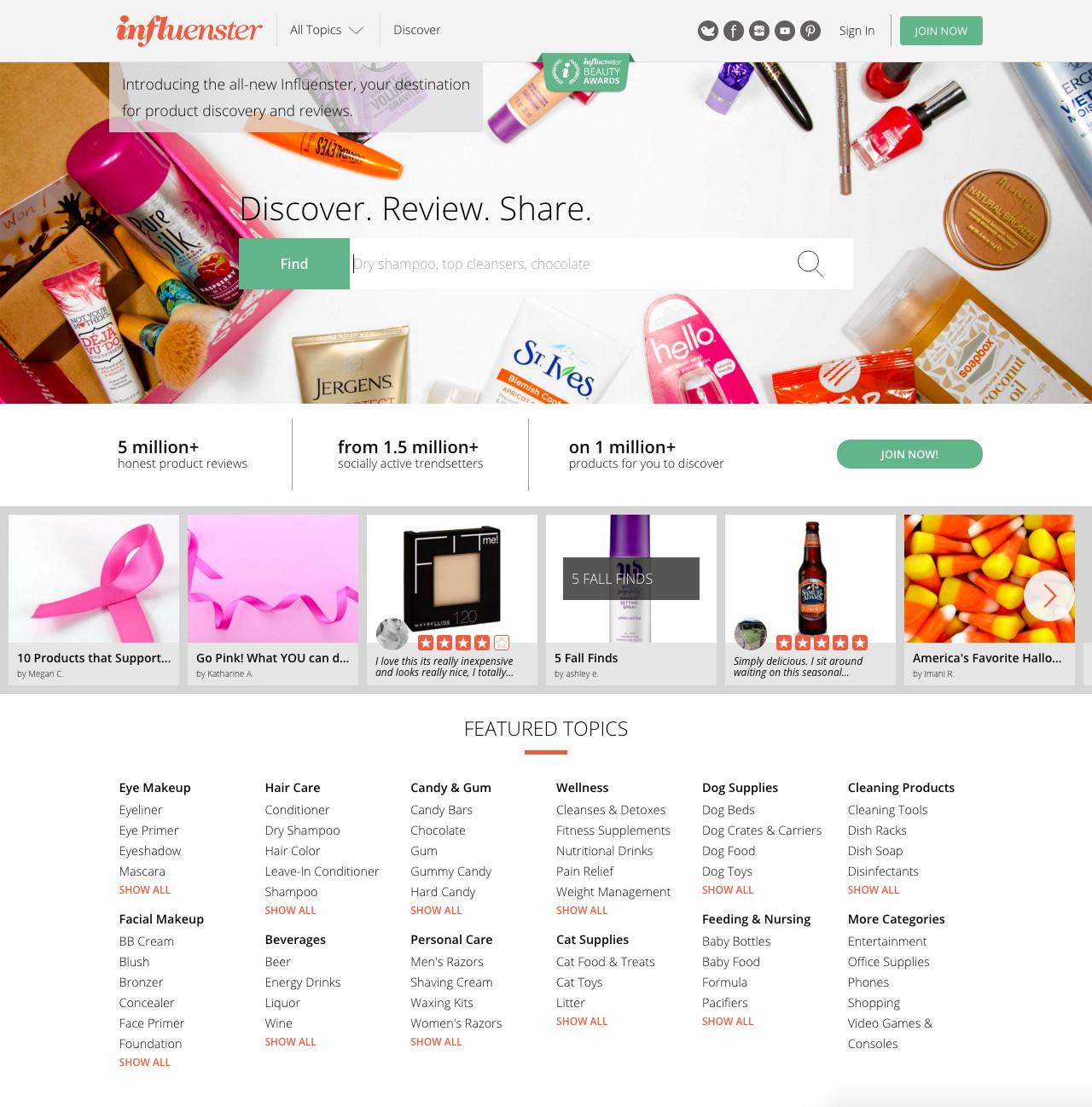 Influenster Website preview